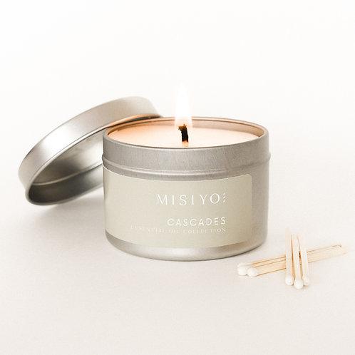 Cascades 4oz silver candle tin (front view)