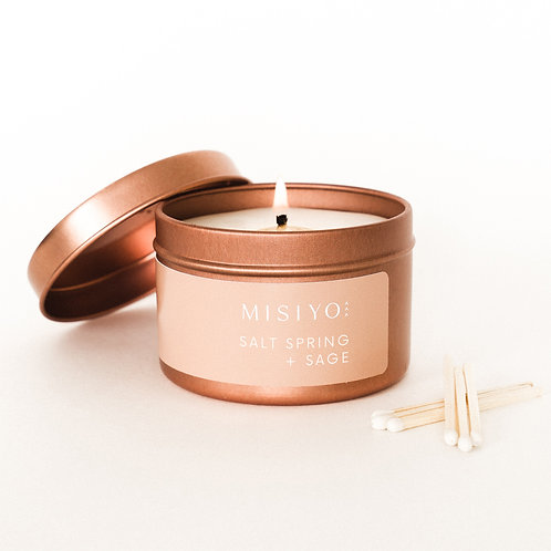 Salt Spring + Sage 4oz rose gold candle tin (front view)