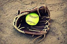 Softbal glove and ball