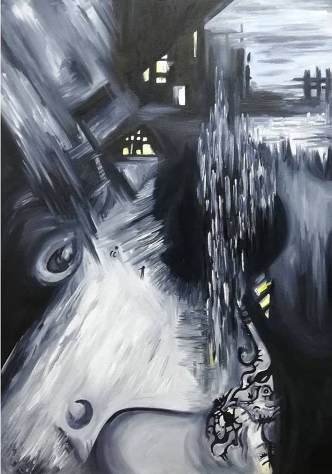 'The human, the city and the universe', Oil on canvas, 70cm x 45cm