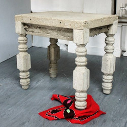 'Wooden Table'; Cement and embroidery