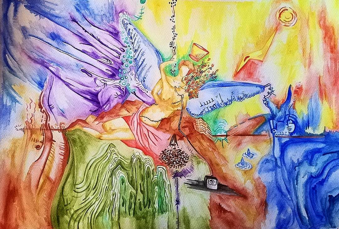 'Eros & Psyche'; watercolour on paper