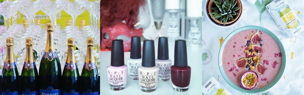 From Left: Champagne Pommery Display, OPI Gift inclusion, H2Coco Water Gifts