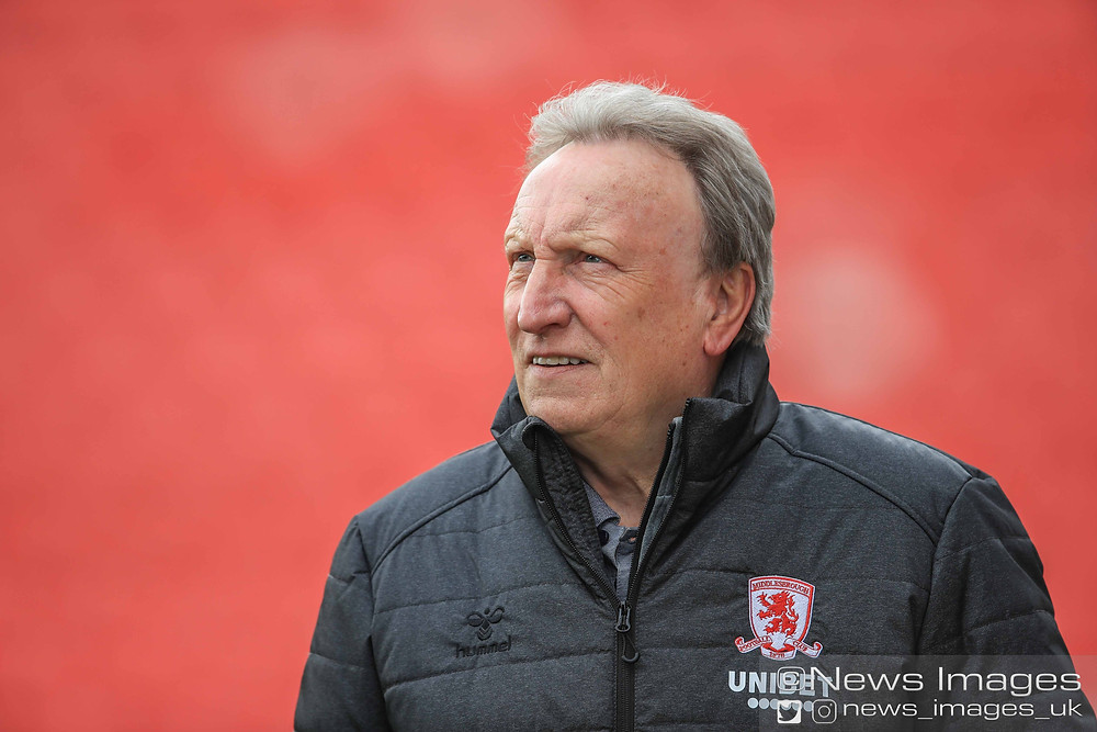 Neil Warnock manager of Middlesbrough arrives at Oakwell