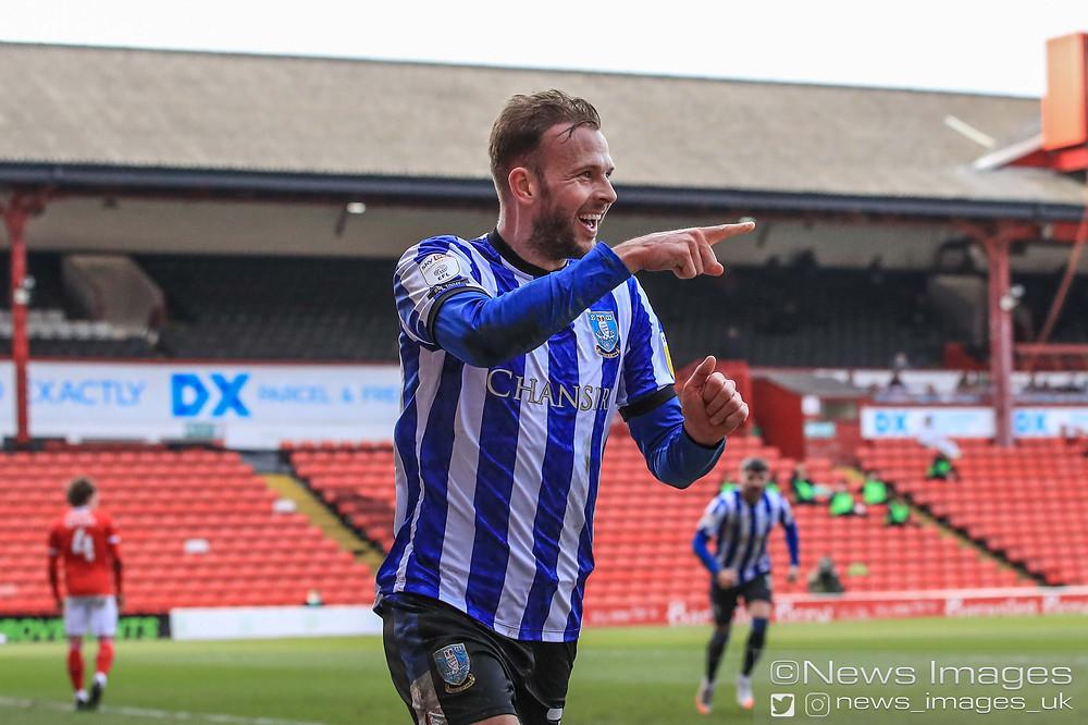 Jordan Rhodes #20 of Sheffield Wednesday celebrates his goal to make it 0-1