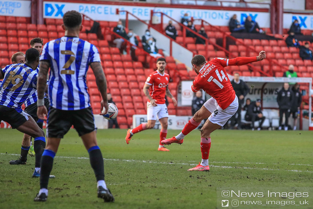 Carlton Morris #14 of Barnsley scores to make it 1-2
