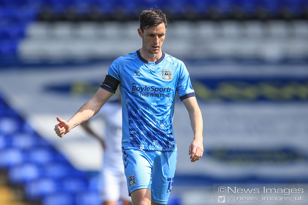 Dominic Hyam #15 of Coventry City gives Mark Robins the thumbs up after scoring the opening goal
