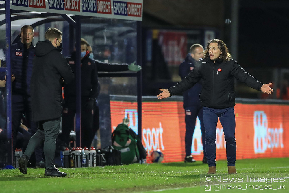 Gareth Ainsworth manager of Wycombe Wanderers reacts with the fourth official