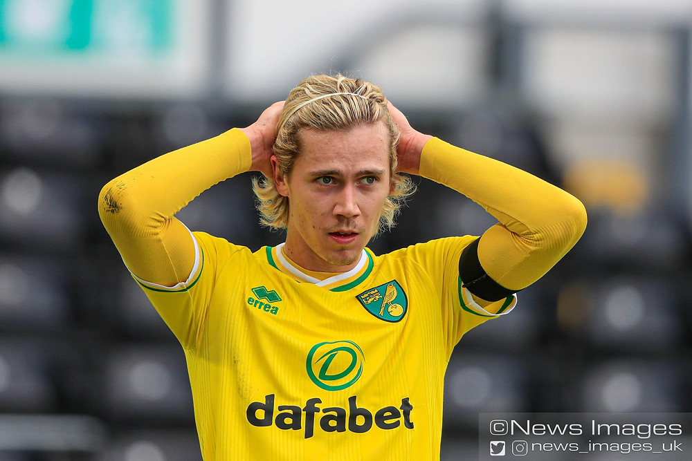 Todd Cantwell #14 of Norwich City reacts