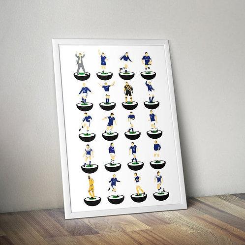 Everton Subbuteo Legends A3 Print