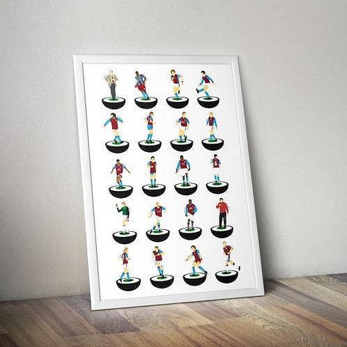 Aston Villa Subbuteo Legends A3 Print
