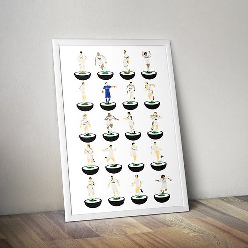 Real Madrid Subbuteo Legends A3 Print