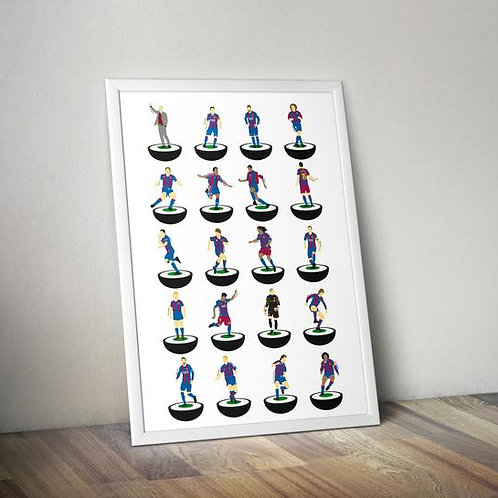 FC Barcelona A3 Subbuteo Legends Print