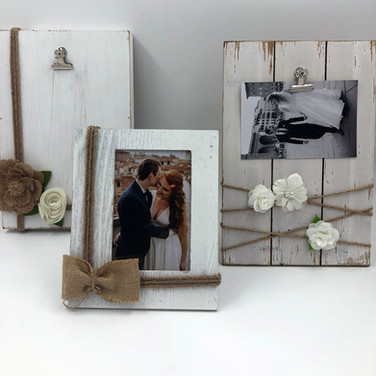White Wood + Burlap Frame Set