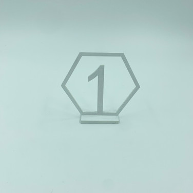 White Hexagon Table Numbers