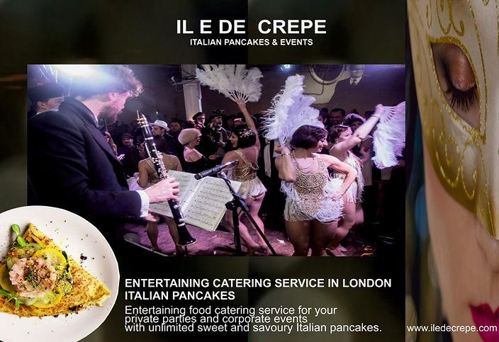 about us iledecrepe, corporate catering menu, pancake catering service London, crepe catering service London, Italian pancakes, entertainment services London