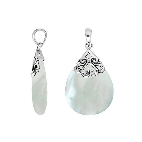 Sterling Silver Pears Shape Pendant with Mother of Pearl
