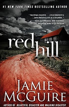 Book cover of road to a house in black and white except for the road and roof which are in red.