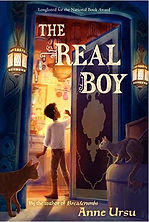 Book cover showing a young boy in a brightly lit room with two cats looking on.