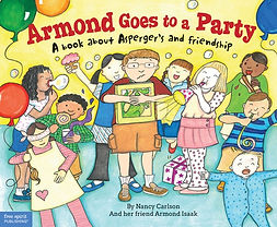 A book cover showing a boy names Armond at a party surrounded by other children.