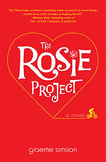 Red book cover with The Rosie Project written inside of a heart-shaped border