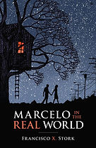 Book cover of night sky with the silhouette images of a boy and girl holding hands and a treehouse.