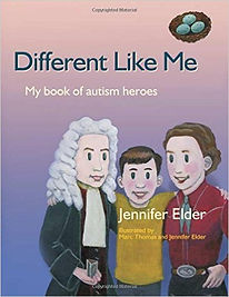 A book cover showing Quinn, a young boy with two historical figures who also had autism.