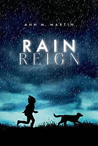Book cover illustration of girl running with a dog in the rain.