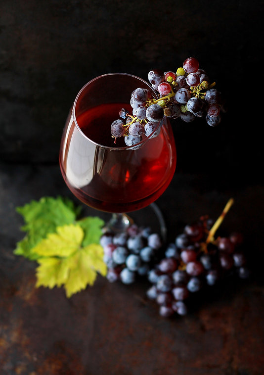 Georgian wine and grape in the glass