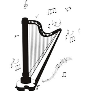 Harp and musical notes