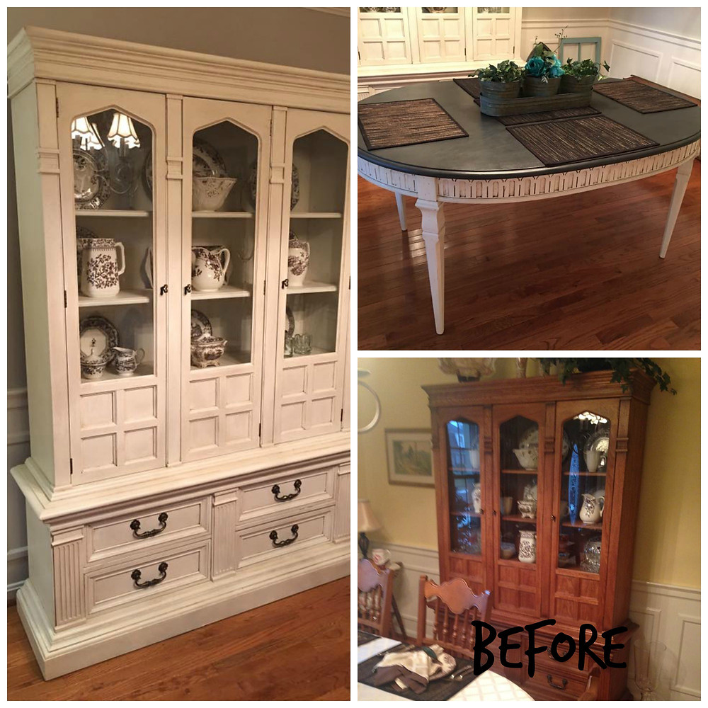 Dining table & hutch makeover
