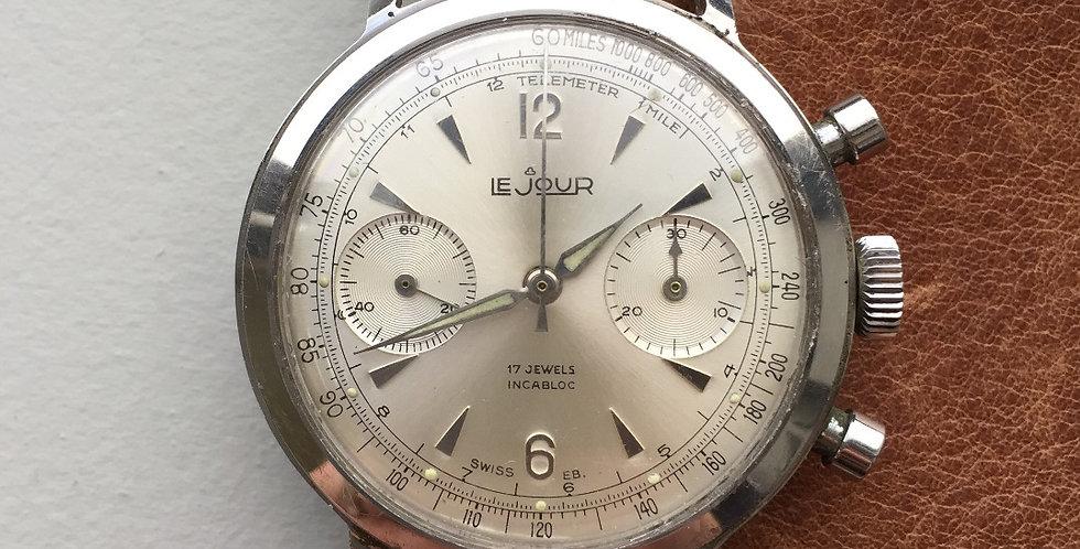 """1950s LeJour Chronograph """"Alpha Hands"""" Venus 188"""