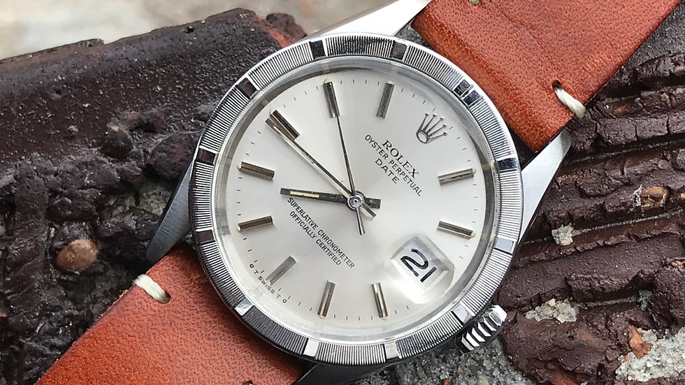 1972 Rolex Oyster Perpetual 1501 Sigma Dial Engine Turned Bezel