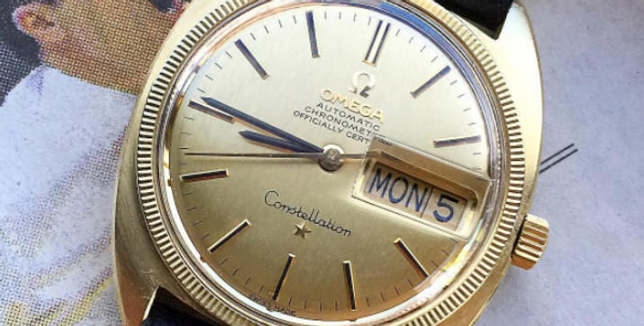 "Omega Constellation Day-Date 18K gp ""linen"" dial"