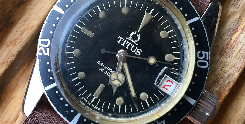 "Titus Calypsomatic 7987 ""Big Crown"" Roulette  ETA 2472"