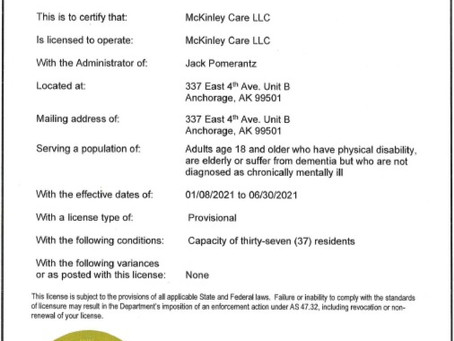 McKinley Care is now licensed by the State of Alaska