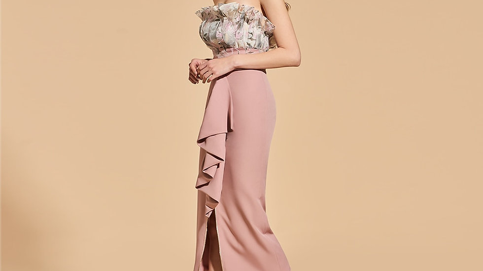 Dressv Print Cocktail Dress Elegant Strapless Tea Length