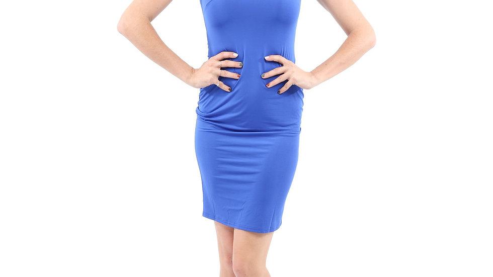 Eden Asymmetric Neckline Mini Dress - Blue