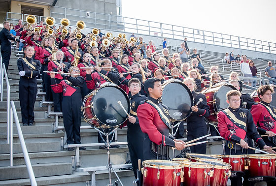 sioux falls roosevelt marching band playing pep band at a roosevelt football game where they also pl