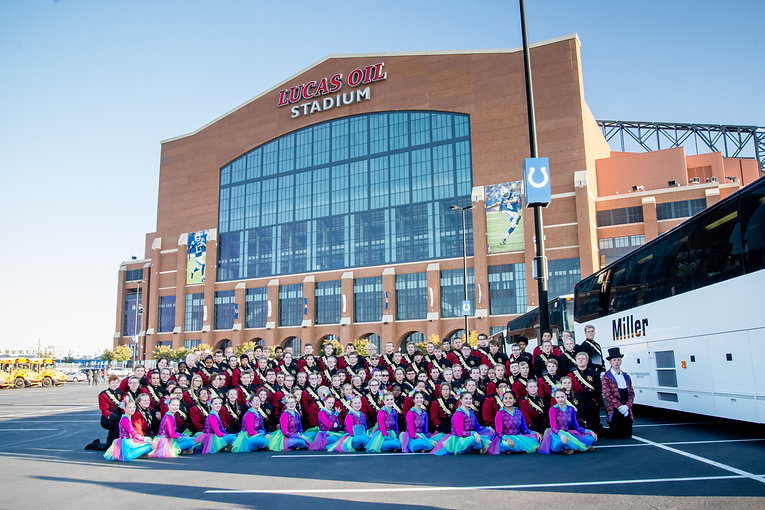 roosevelt high school marching band in performance at lucas oil stadium
