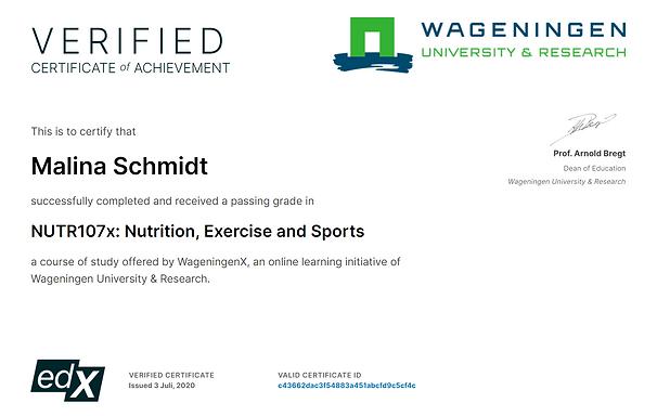 Zertifikat Sporternährung