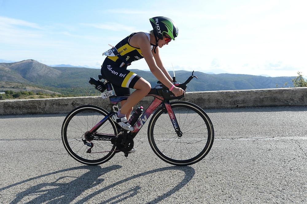 Ironman 70.3 World Championships 2019 up the 35km long hill climb. Beautiful views helped endure that climb!