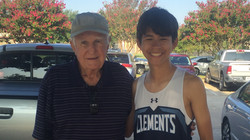 Hall of Fame Coach Oscar Cripps with Ethan Beyer of Clements XC.