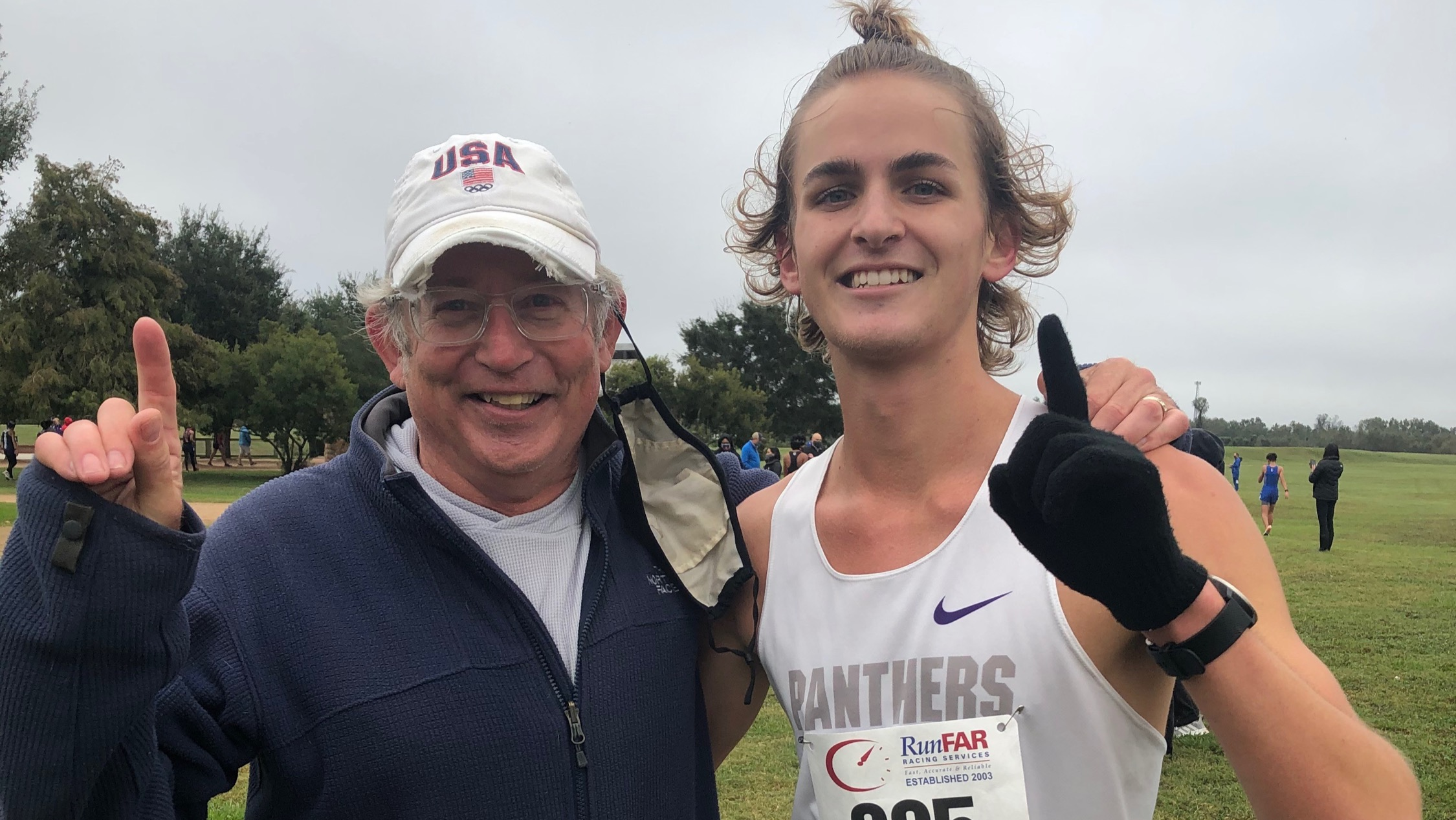 Coach Andy and Whitaker Bird. District XC victory in 2020.
