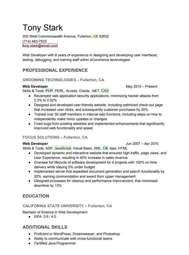 Resume of Tony Stark