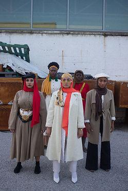 Five women posing in Chiffon Hijabs.