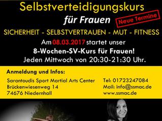Selbstverteidigungskurs für Frauen - Neue Termine 2017!