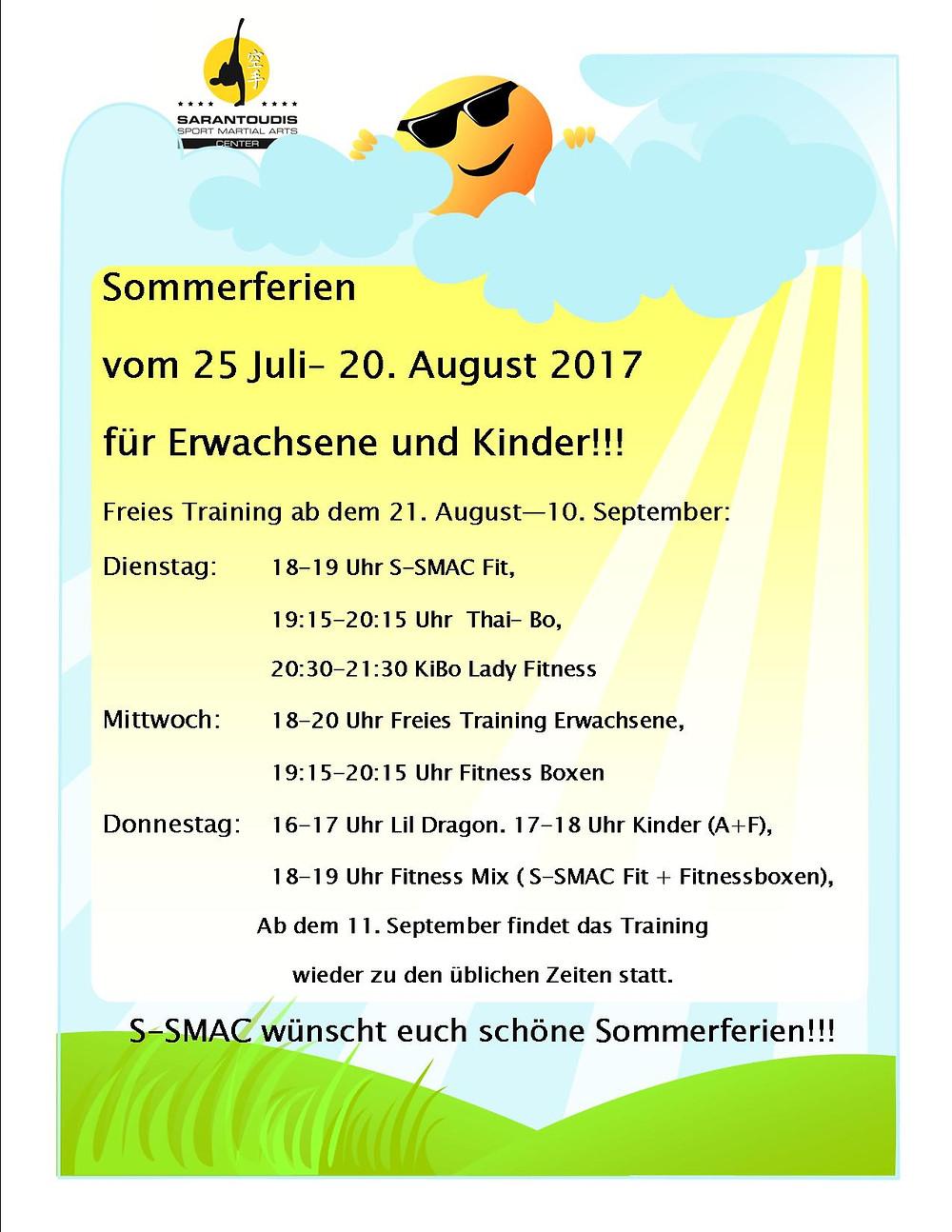 SSMAC Sommerferien