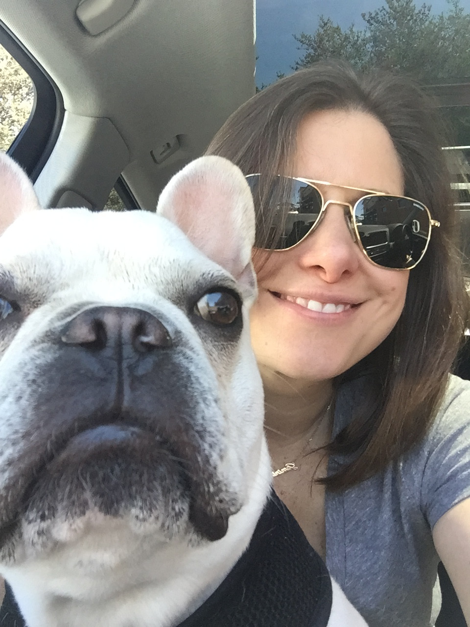 Pudge and Kristen in the car