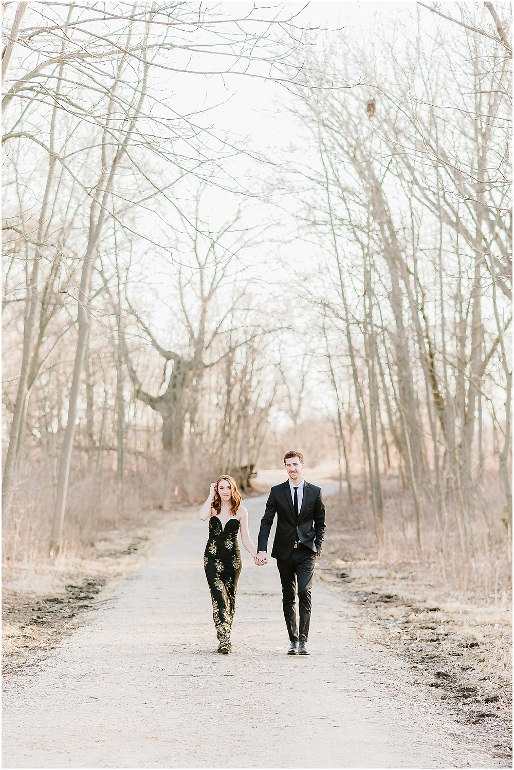 engagement photo in the woods